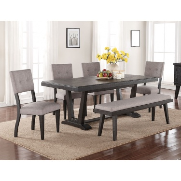 1105 Ashen Echo Dining Table with Bench
